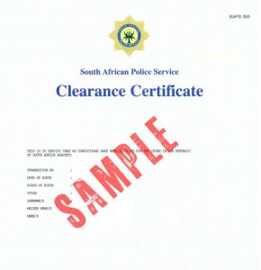 South AFrican police clearance Perth